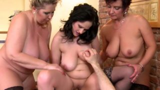 Orgy with three mature women, round and greedy